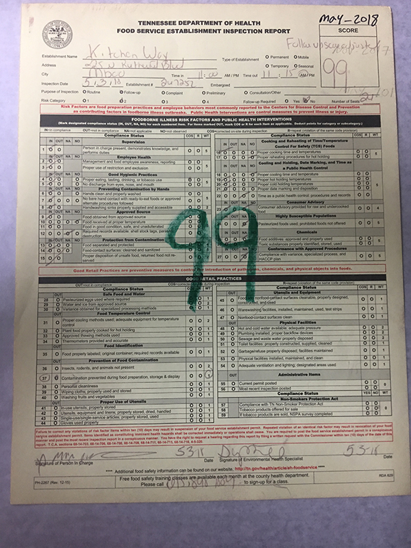 Inspection certificate, passing grade of 99 or above